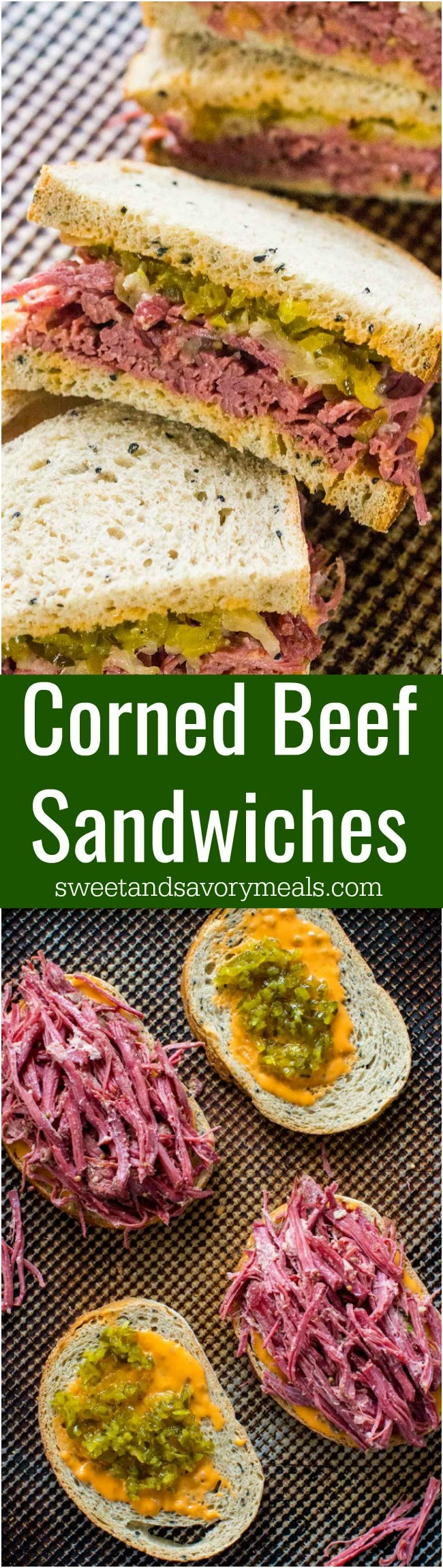 Corned Beef Sandwiches are the homemade take on the classic deli sandwiches of corned beef with toasted rye bread, sauerkraut and Russian dressing.