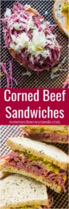 Slow Cooker Corned Beef Sandwiches are the homemade take on the classic deli sandwiches of corned beef with toasted rye bread, sauerkraut and Russian dressing.