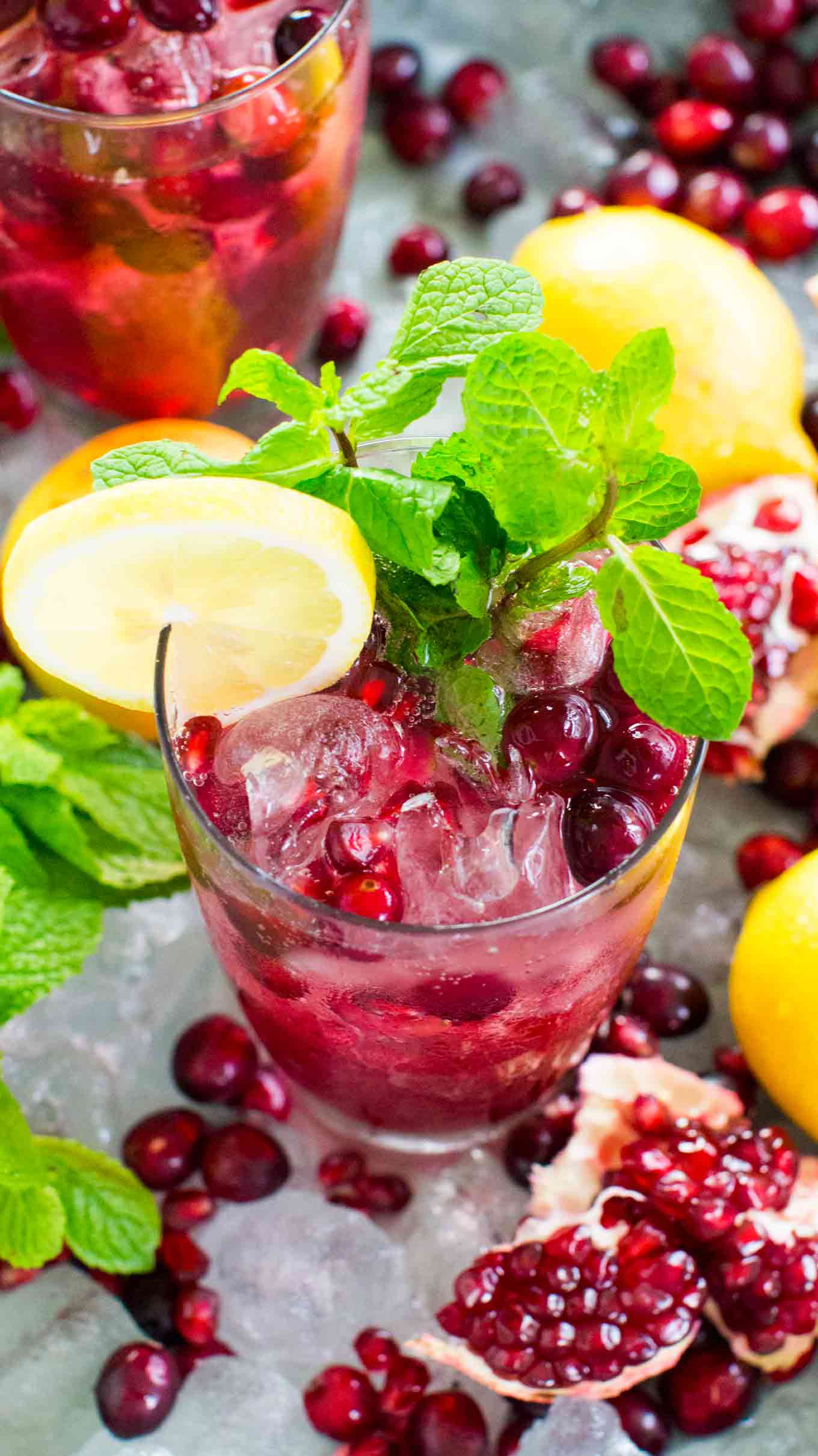 Delicious Cranberry Mocktail is the perfect fall drink, sweet and refreshing, can also be made ahead of time for your Thanksgiving feast.