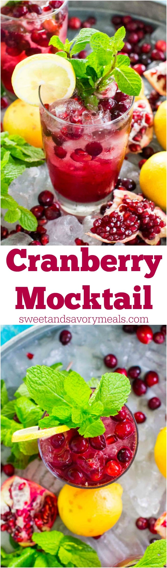 Cranberry Mocktail is the perfect fall drink, sweet and refreshing, can also be made ahead of time for your Thanksgiving feast.