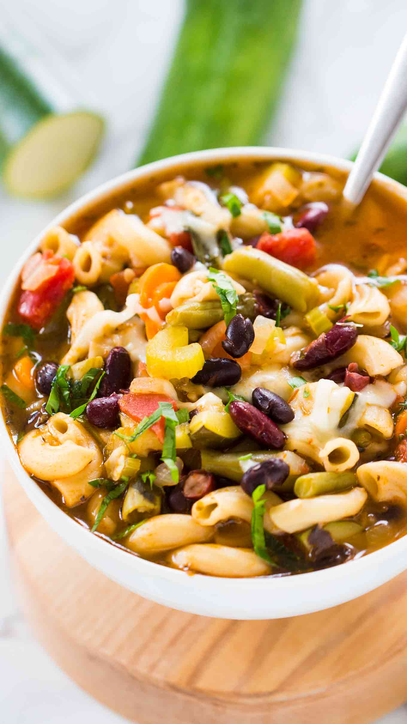 Easy Instant Pot Minestrone Soup is delightfully good, tasty and healthy! Easy to male and packed with so many hearty veggies and beans you can have a few bowls guilt free.