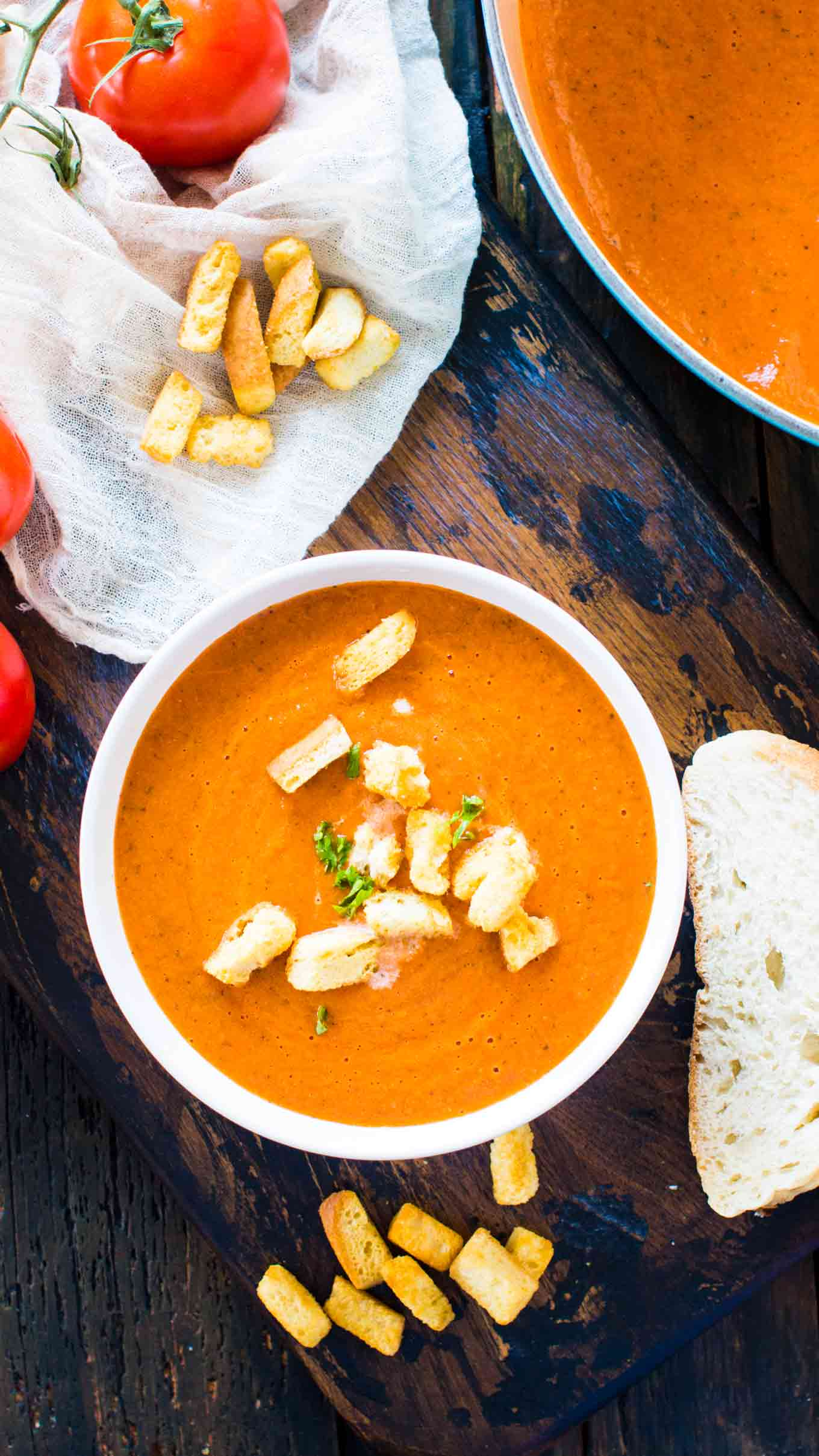 Panera Bread Soups Copycat recipe for their Panera Bread Creamy Tomato Soup. The chain's classic, famous, creamy soup that will warm your soul and make your taste buds happy.