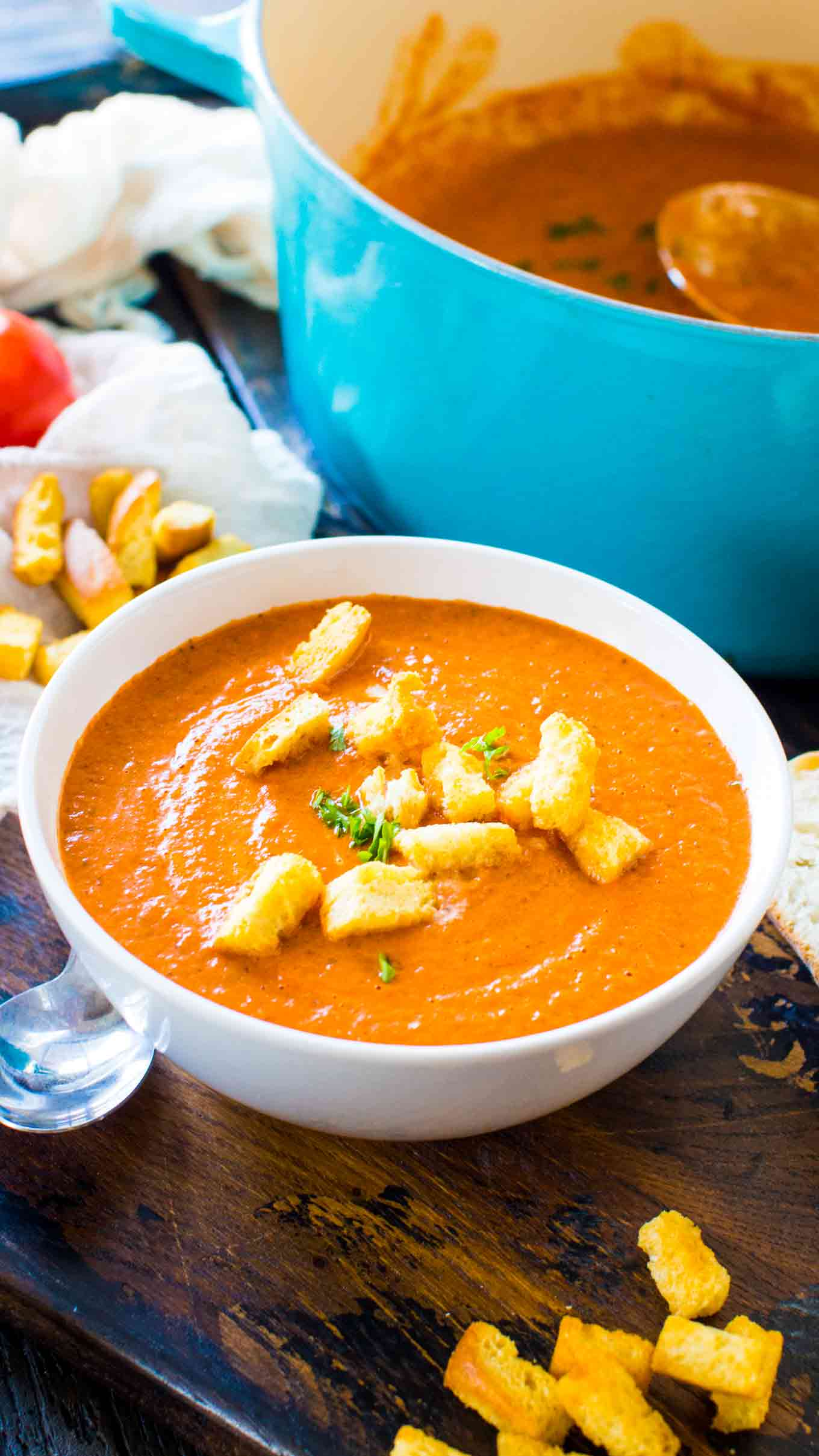 Best Panera Bread Creamy Tomato Soup Copycat is the chain's classic, famous, creamy soup that will warm your soul and make your taste buds happy.
