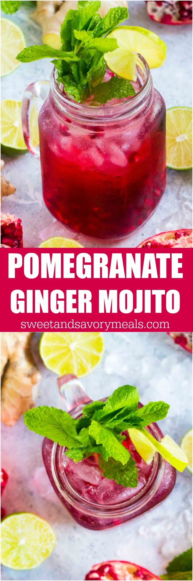 Ginger Pomegranate Mojito made with fresh ginger is the perfect fall drink. With a gorgeous color and a sweet, refreshing taste, this will become your go to drink.