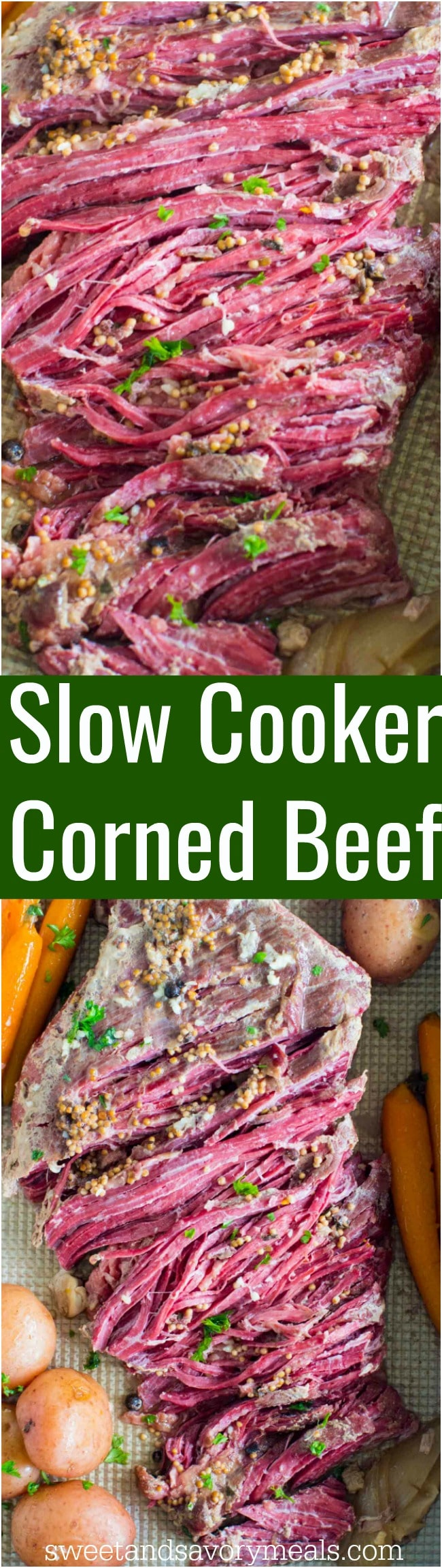 Tender Slow Cooker Corned Beef is the easiest recipes ever. All you have to do is add all the ingredients to the slow cooker and let it work its magic.