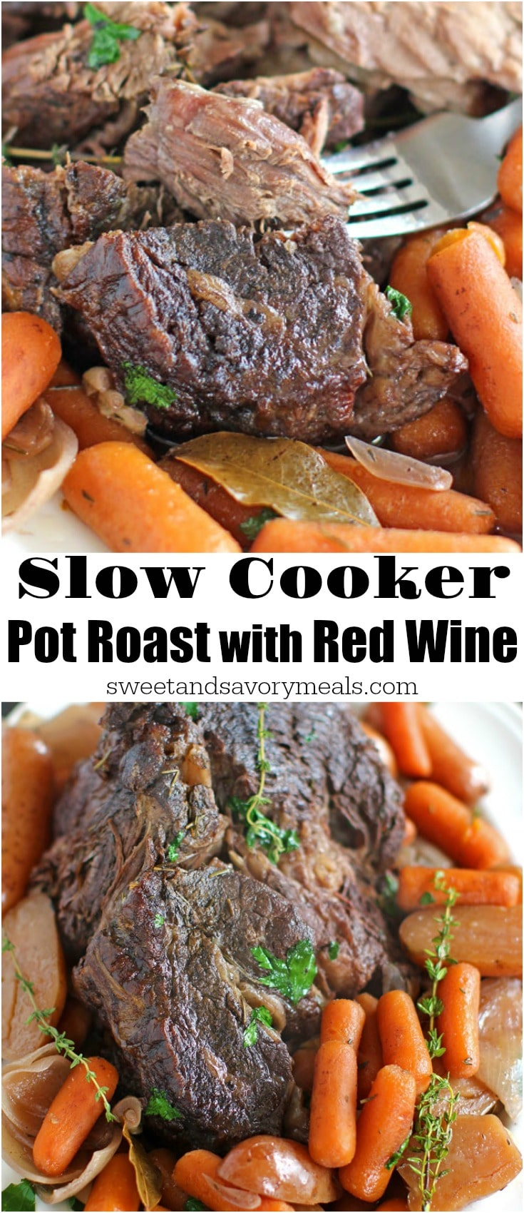 Slow Cooker Pot Roast made with red wine is such an easy and delicious meal, hearty and packed with meat and veggies it is perfect for any occasion.