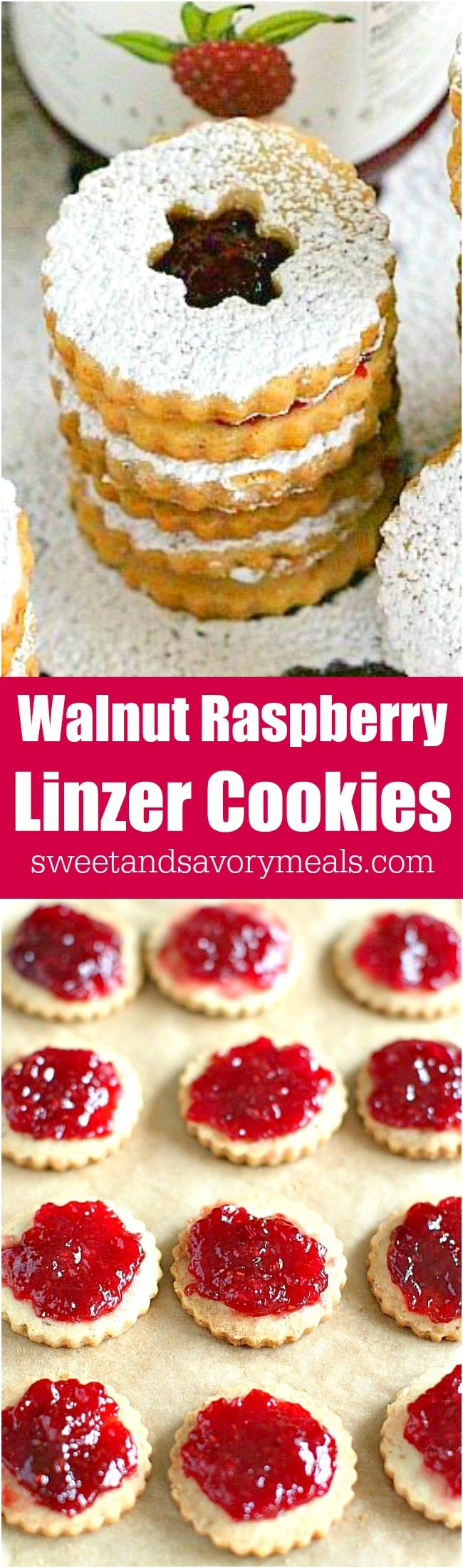 Walnut Raspberry Linzer Cookies are tender, buttery and sweet. They melt in your mouth and have a light nutty flavor and a delicious raspberry preserves middle.