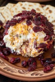 Easy Cheese Ball made with creamy goat cheese, crispy bacon crumbs, fresh green onions, sharp cheddar cheese and covered in sweet dried cranberries.