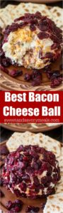 Cheese Ball made with creamy goat cheese, crispy bacon crumbs, fresh green onions, sharp cheddar cheese and covered in sweet dried cranberries.