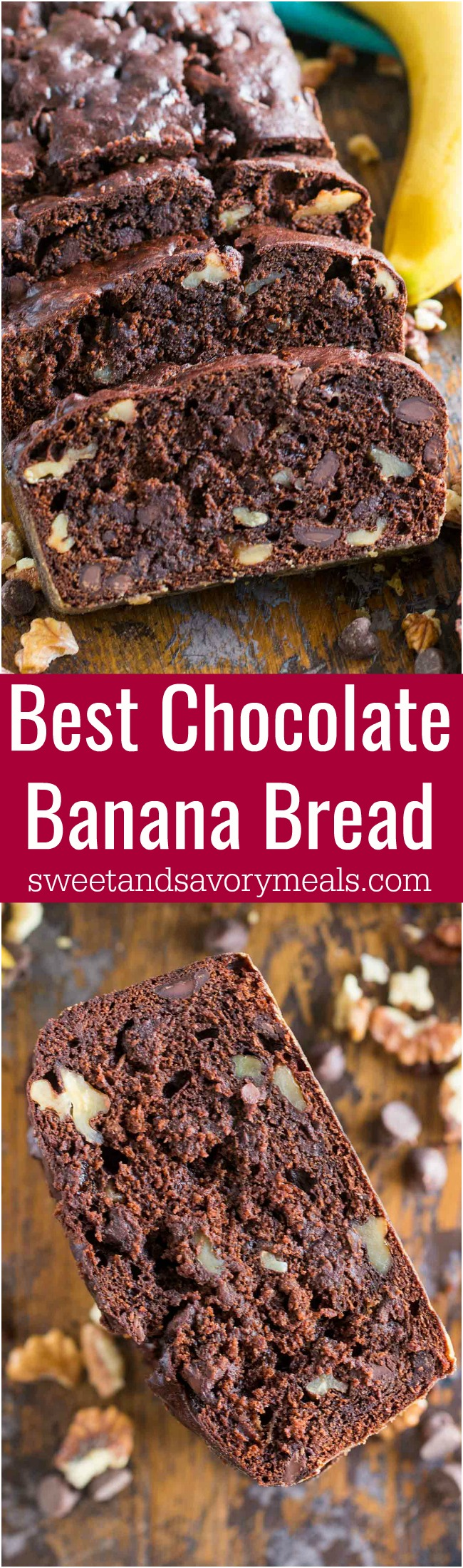 Picture of the best chocolate banana bread.