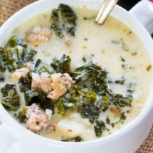 Easy Instant Pot Zuppa Toscana is the Olive Garden Copycat easily made in the Instant Pot in just 40 minutes with budget friendly ingredients.