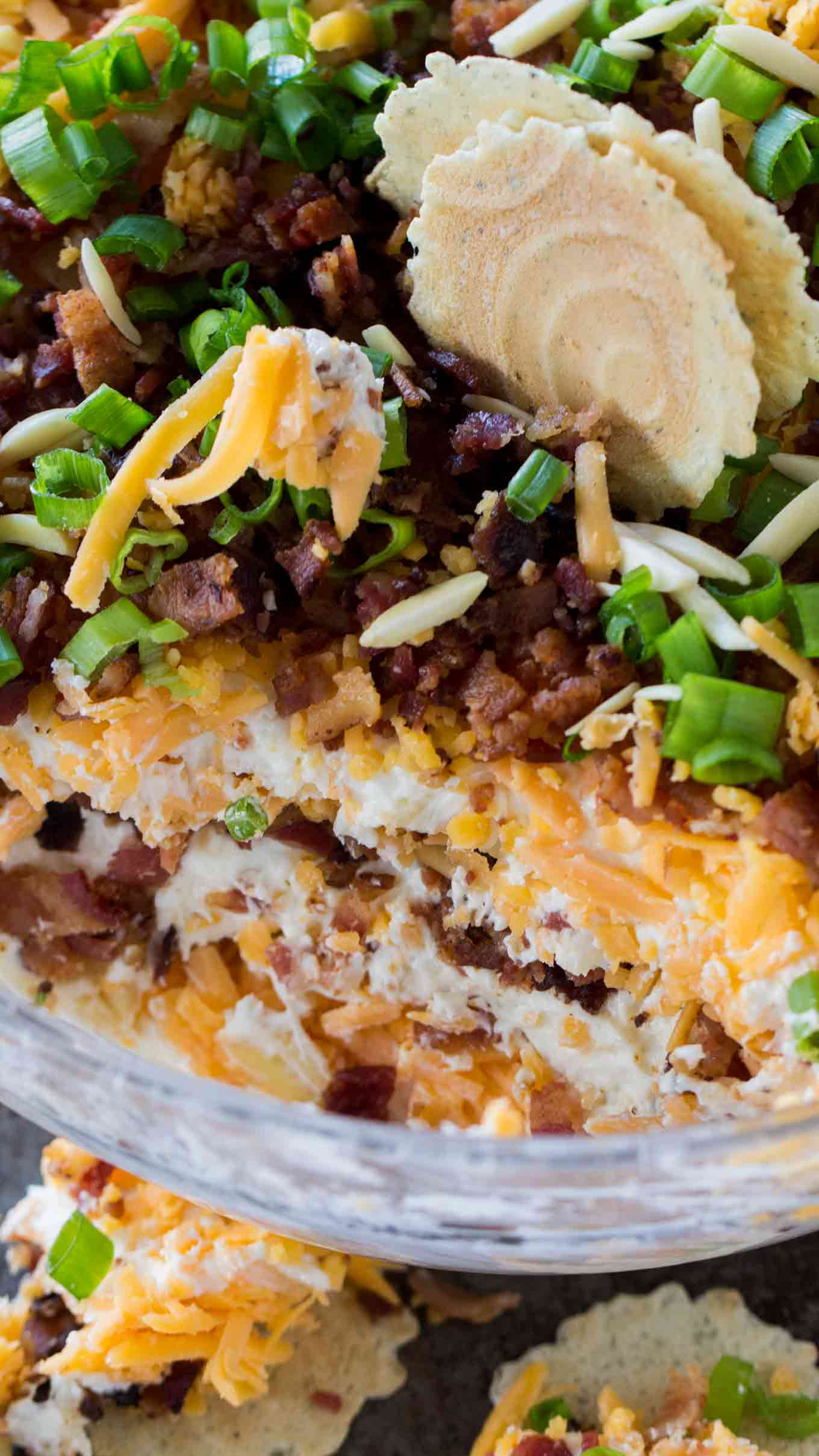 Layered Million Dollar Dip is the best cheese dip that you can make! Layers of creamy cheese, sharp cheddar cheese, bacon, slivered almonds and green onions!
