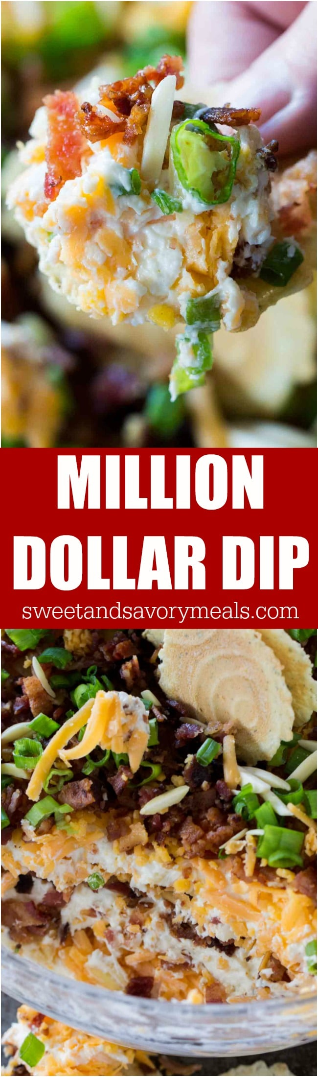 Million Dollar Dip is the best cheese dip that you can make! Layers of creamy cheese, sharp cheddar cheese, bacon, slivered almonds and green onions!