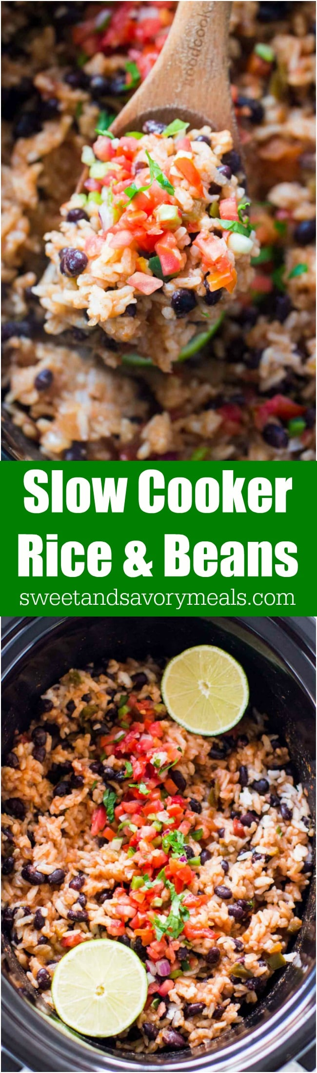 Slow Cooker Rice and Beans is the perfect side dish or vegetarian meal you can make in the slow cooker with just a few ingredients.