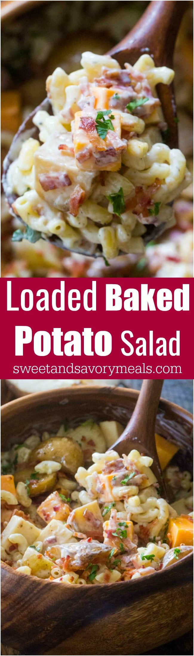 Loaded Baked Potato Salad is the perfect meal to bring to a potluck or to make for a party! Delicious, packed with baked potatoes, cheese and bacon!