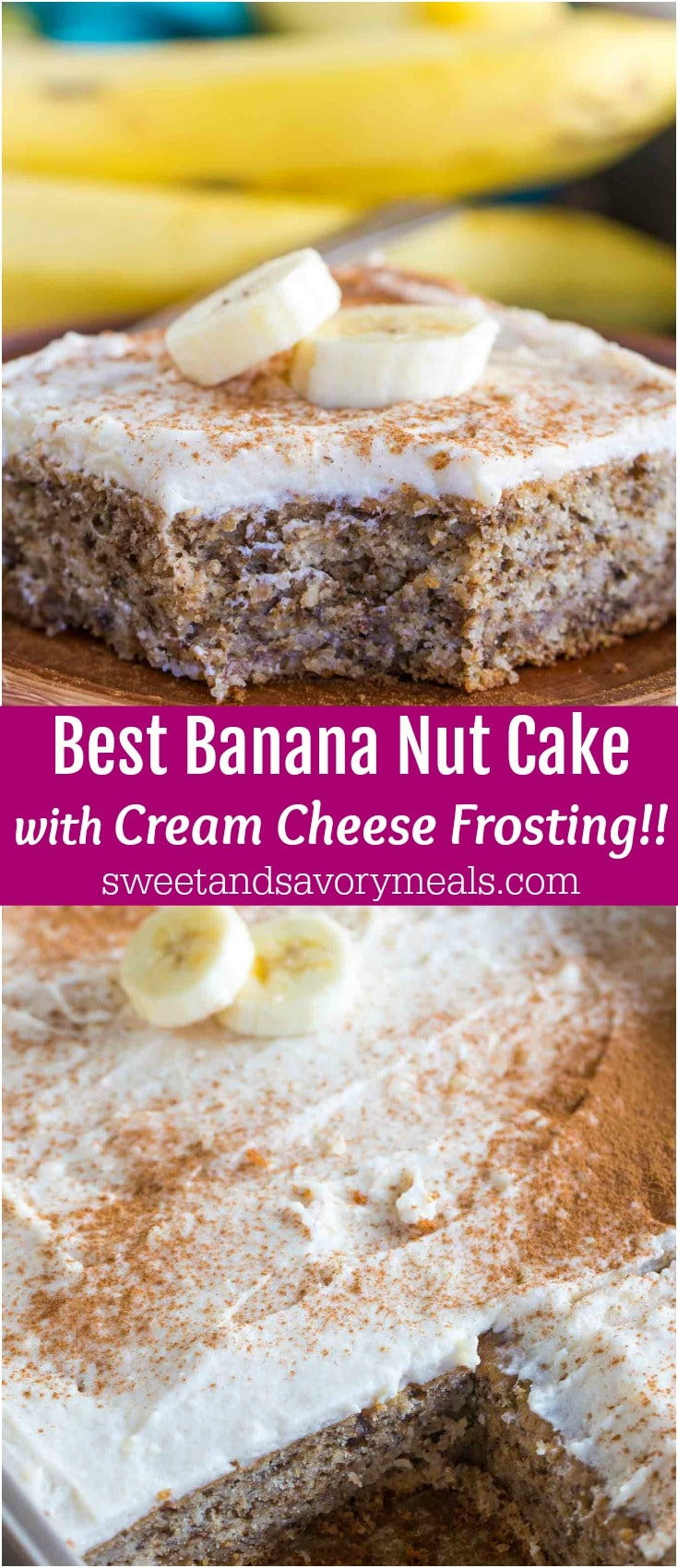 Banana Nut Cake is a breeze to make! Sweet, nutty, slightly chewy, crunchy and topped with the most amazing cinnamon cream cheese frosting.