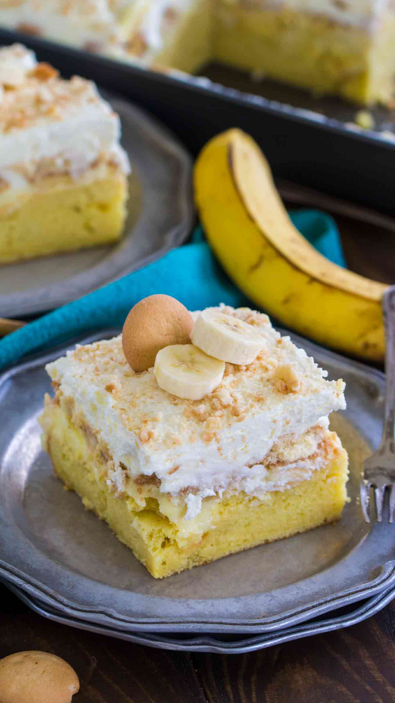 Banana Pudding Poke Cake Slice