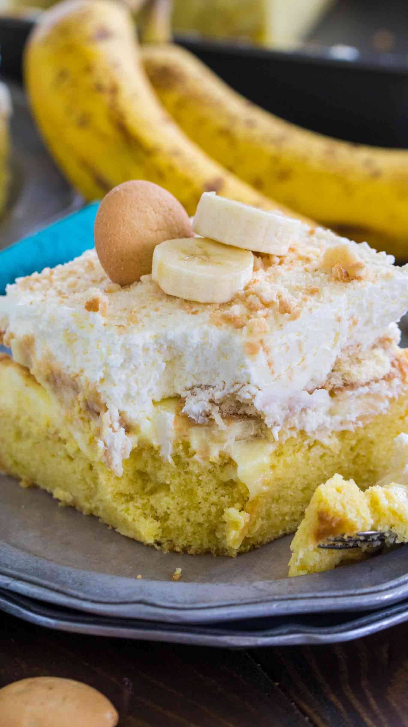 Banana Pudding Poke Cake with Whipped Cream Frosting