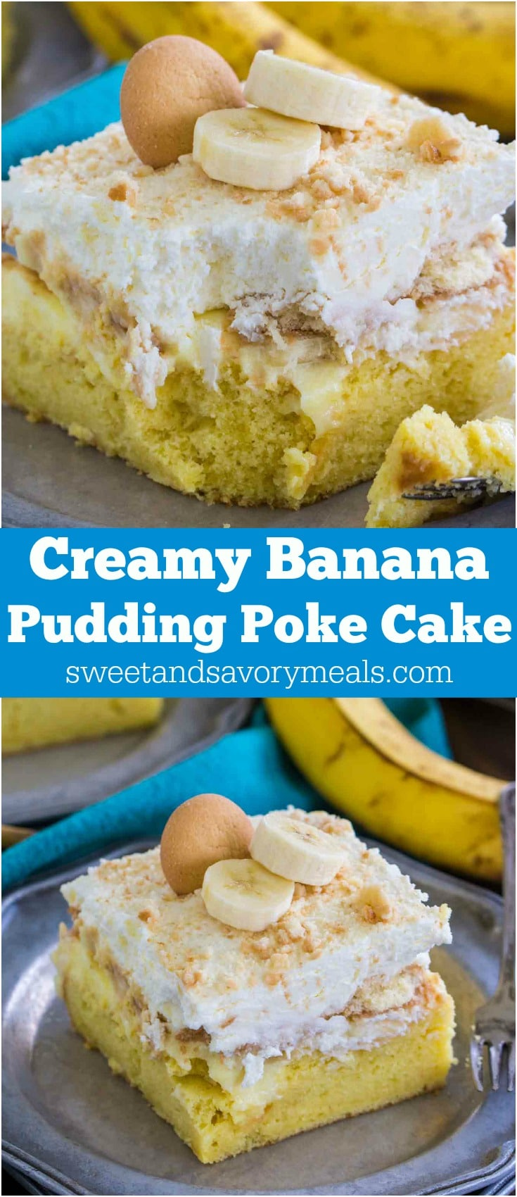 Banana Pudding Poke Cake is one of the easiest and most divine cakes you can make! Incredibly creamy and with lots of banana flavor!