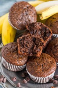 Best Chocolate Banana Muffins are the best way to use over ripe bananas. The muffins are easy to make, soft, chocolaty and full of flavor.