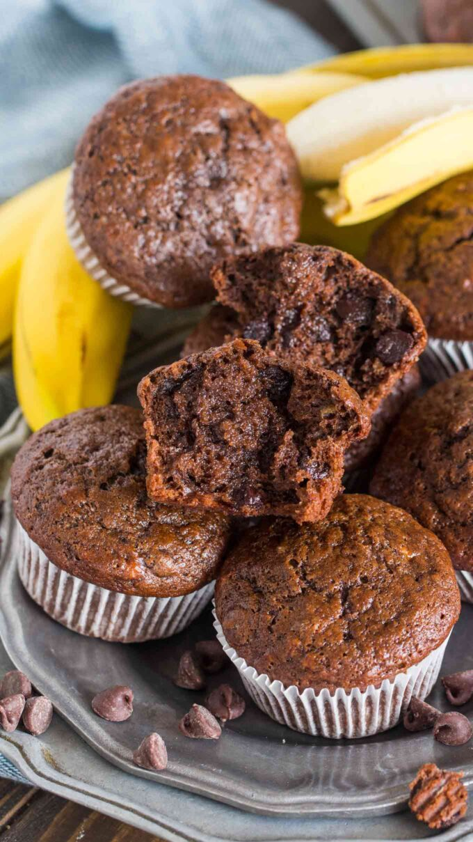 Picture of chocolate banana muffins on a silver plate.