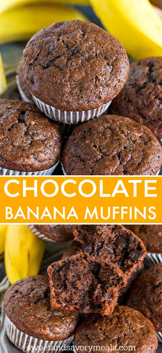 Chocolate banana muffins photo