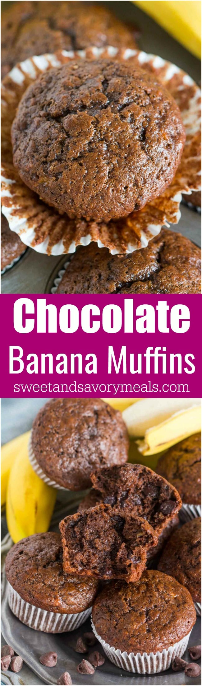 Chocolate Banana Muffins are the best way to use over ripe bananas. The muffins are very easy to make, soft, chocolaty and full of flavor.