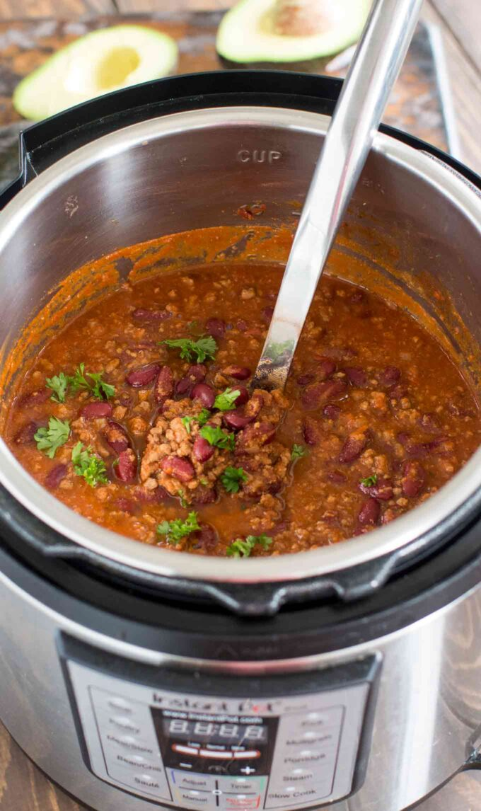 Photo of cooked chili in the instant pot.