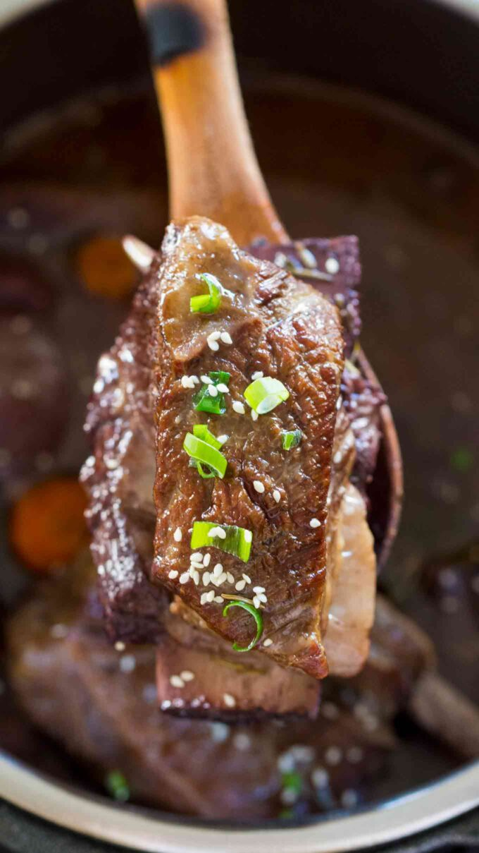 Image of instant pot short ribs garnished with chopped green onion.