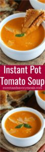 Instant Pot Tomato Soup made with garlic roasted tomatoes for extra flavor. Super creamy and with a spicy kick, made in minutes in the Instant Pot.