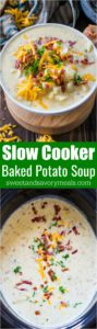 Slow Cooker Baked Potato Soup is creamy and comforting, budget friendly and also very easy to make! Perfect for a weeknight meal.