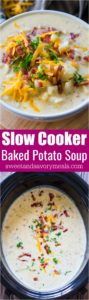 Creamiest Slow Cooker Baked Potato Soup is comforting, budget friendly and also very easy to make! Perfect for a weeknight meal.