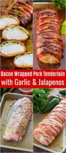 Bacon Wrapped Pork Tenderloin is crispy on the outside and juicy on the inside. Made with garlic, honey and jalapeños for extra flavor.