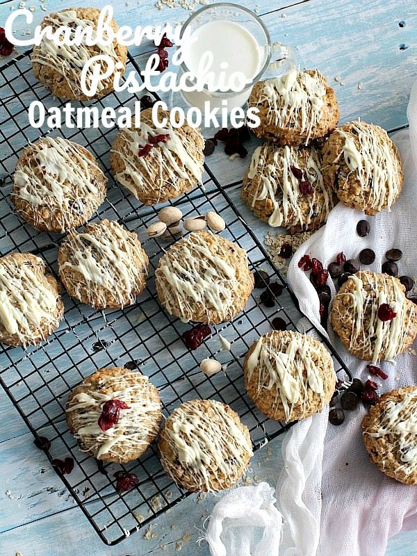 Cranberry Pistachio Oatmeal Cookies
