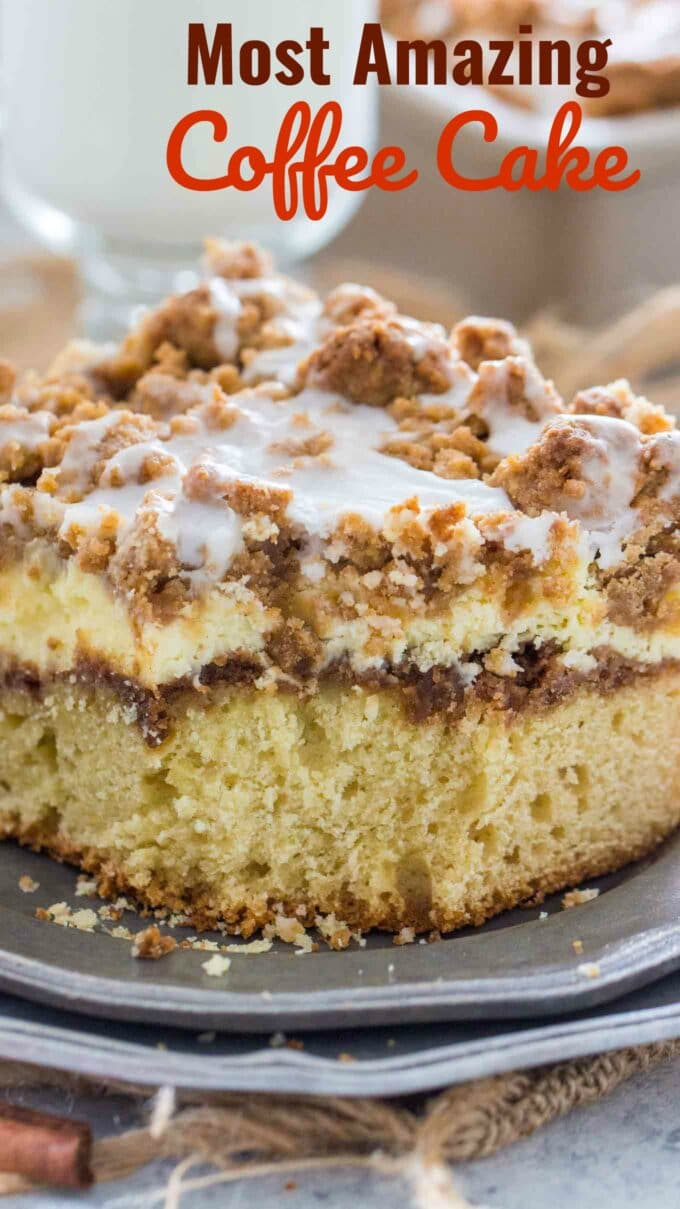 image of coffee cake with a cheesecake layer and topped with cinnamon streusel