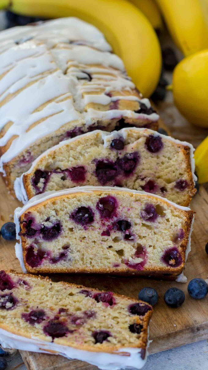 Image of blueberry banana bread.