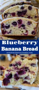 Blueberry Banana Bread is one of the best recipes to make with very ripe bananas. The bread is sweet, fluffy, tender, bursting with juicy blueberries and lemon flavor.