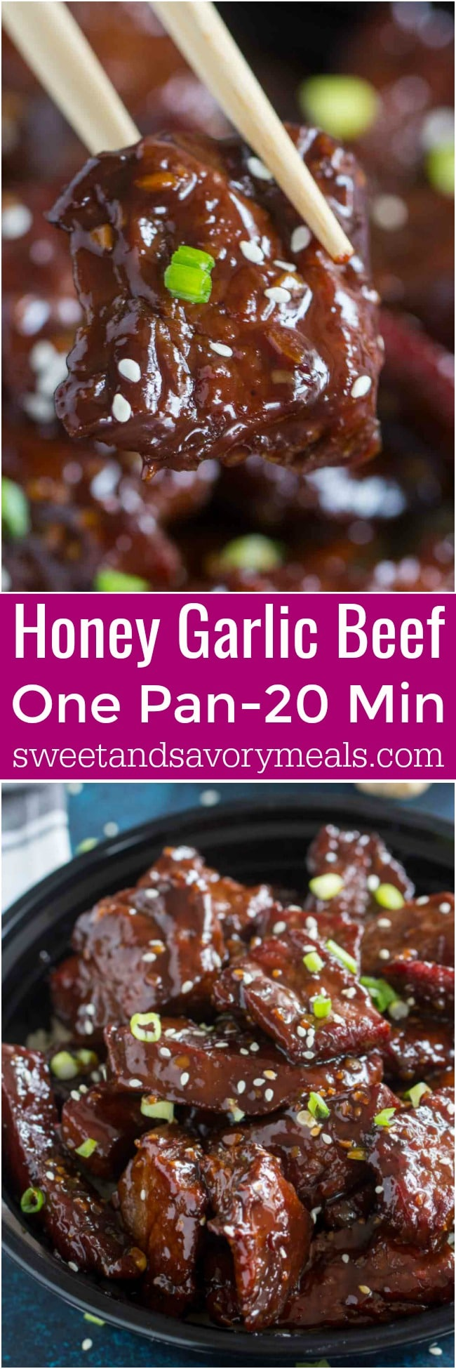 Sticky Honey Garlic Beef made in one pan in just 20 minutes, is full of flavor, made with sweet honey, freshly grated ginger and just a dash of spiciness.