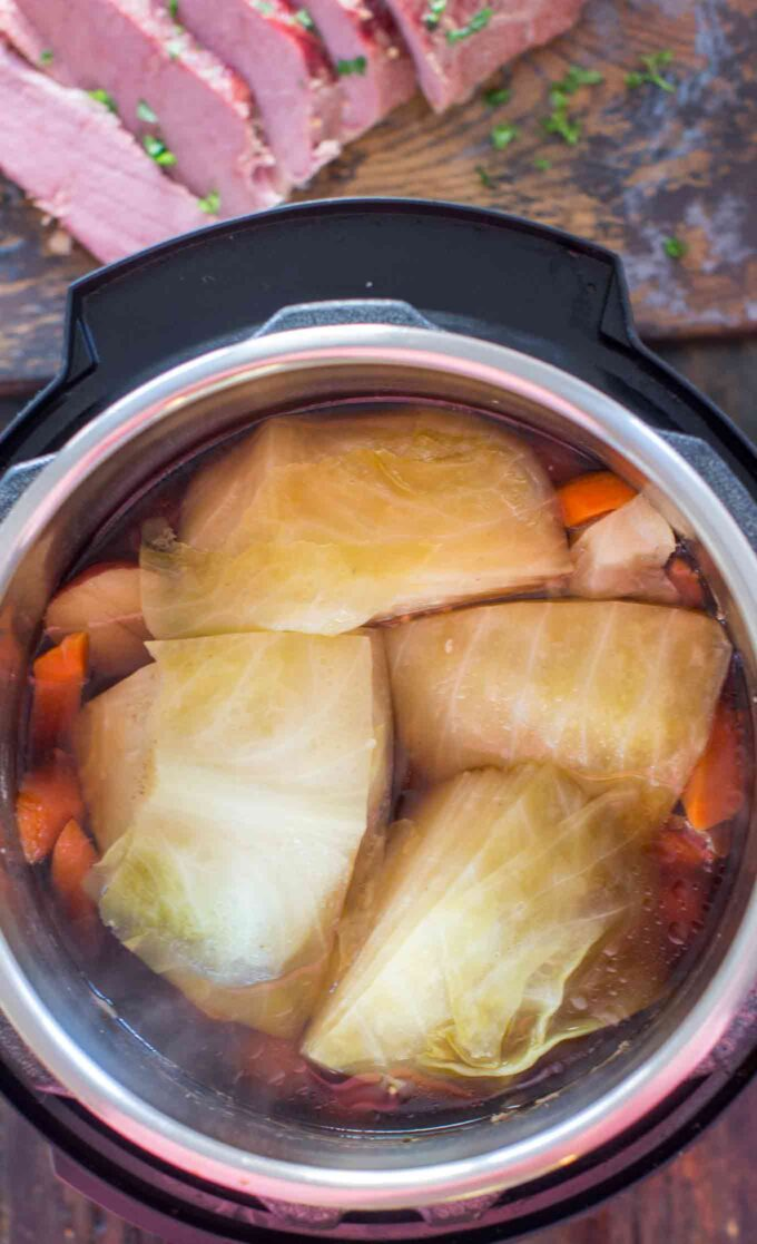 Picture of corned beef cabbage and potatoes in the instant pot.