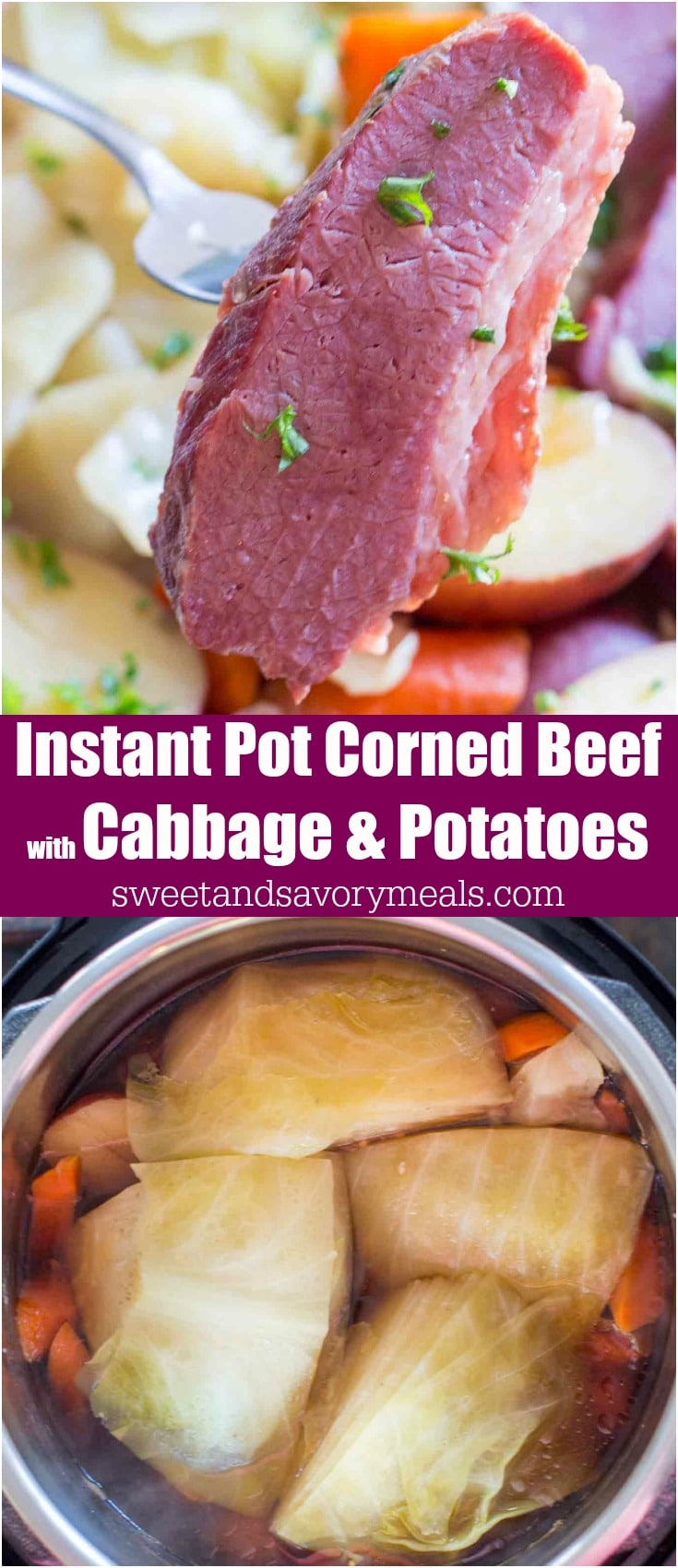 Instant pot corned beef with cabbage and potatoes photo.