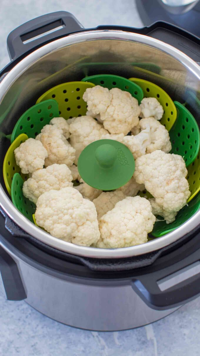 Image of cauliflower in the instant pot.