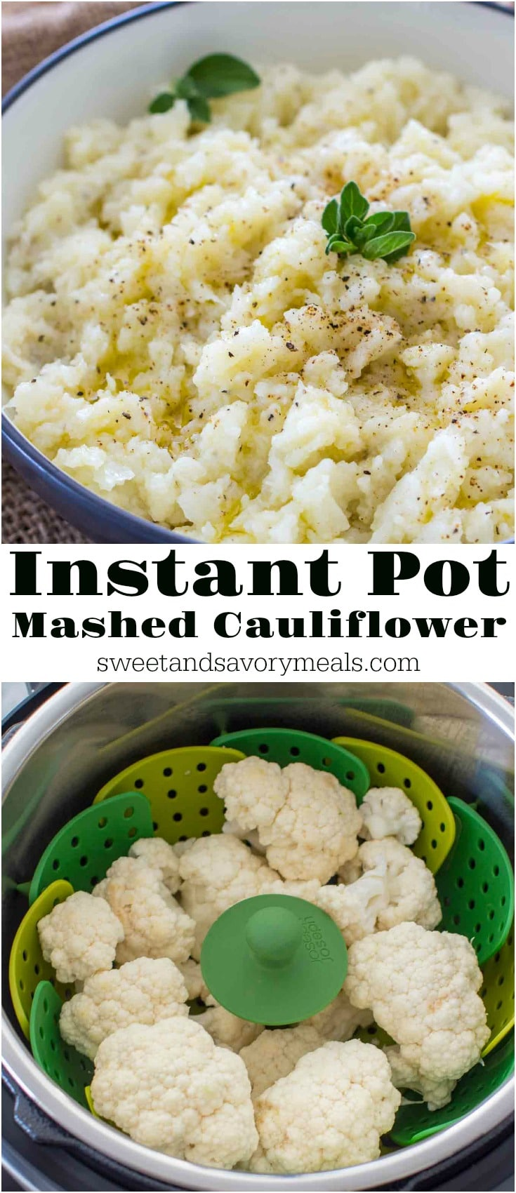Instant Pot Mashed Cauliflower is really easy to make, healthy and so delicious. Served with a drizzle of olive oil, salt and pepper. Naturally low in calories and carbs.