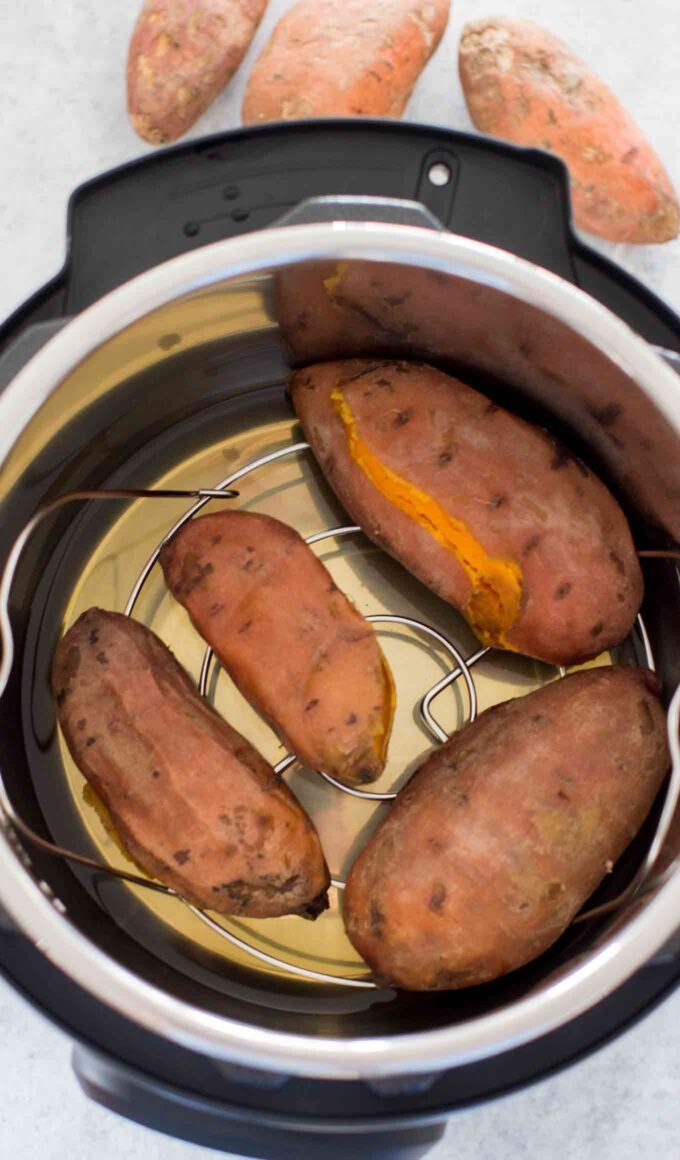 Photo of sweet potatoes in the instant pot.