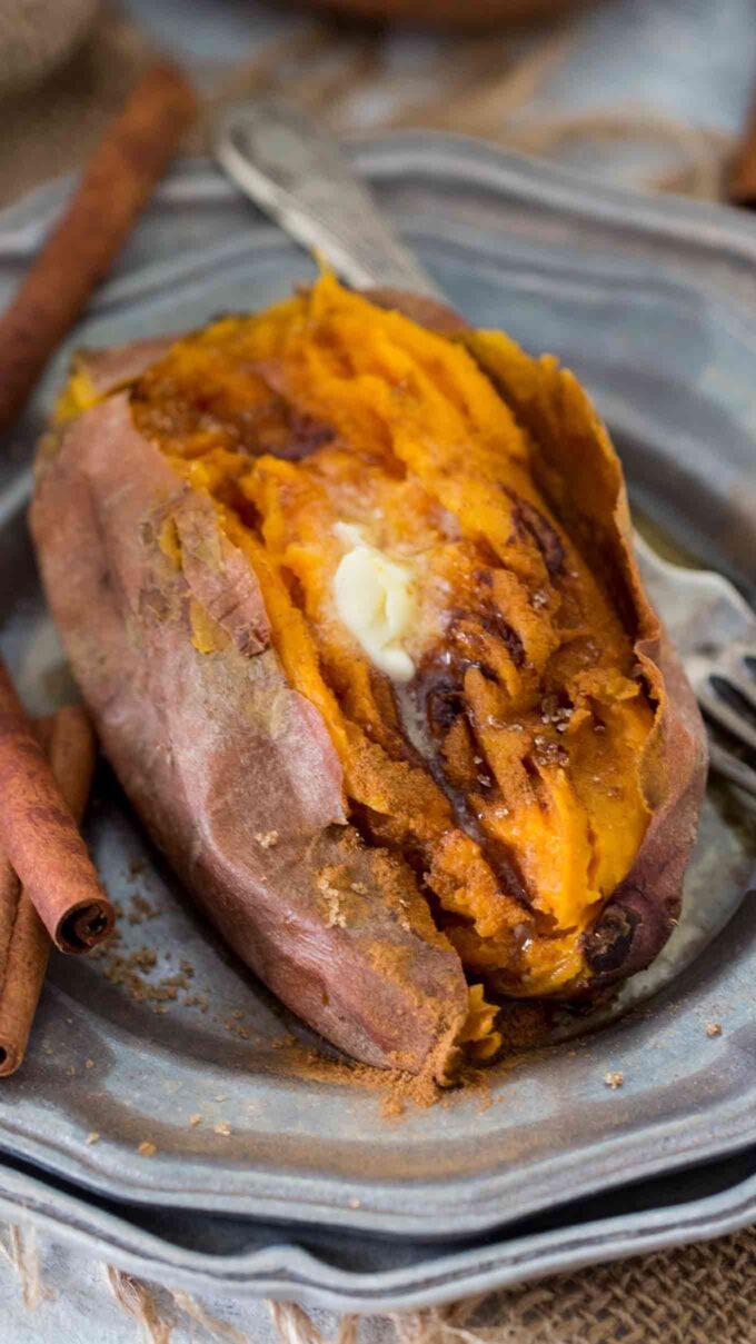 Image of sweet potato cooked in the instant pot garnished with cinnamon.