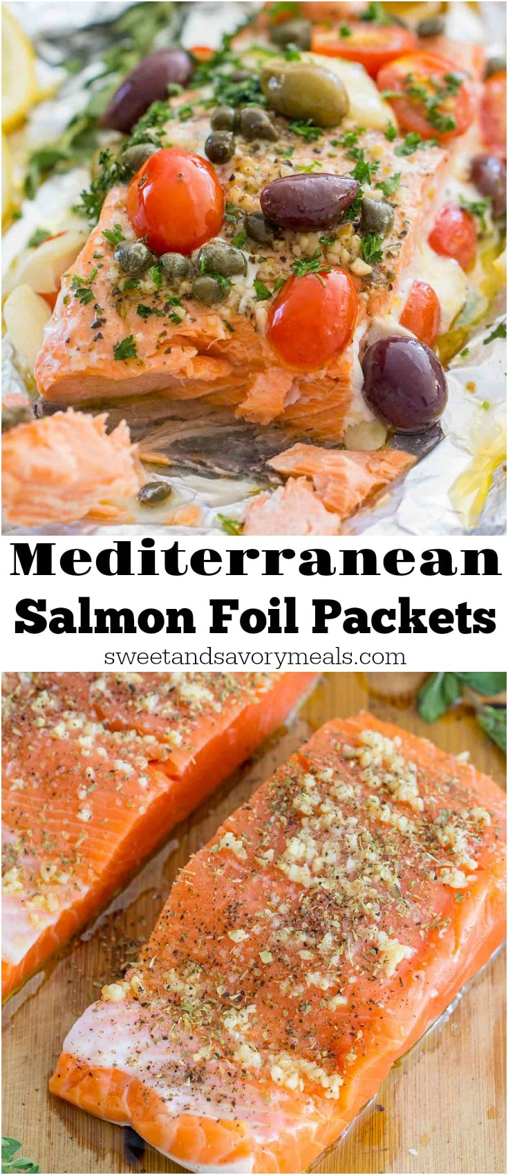 Mediterranean Salmon Foil Packets with capers, olives, oregano, garlic and tomatoes are incredibly flavorful, flaky and tender and ready in just 20 minutes.