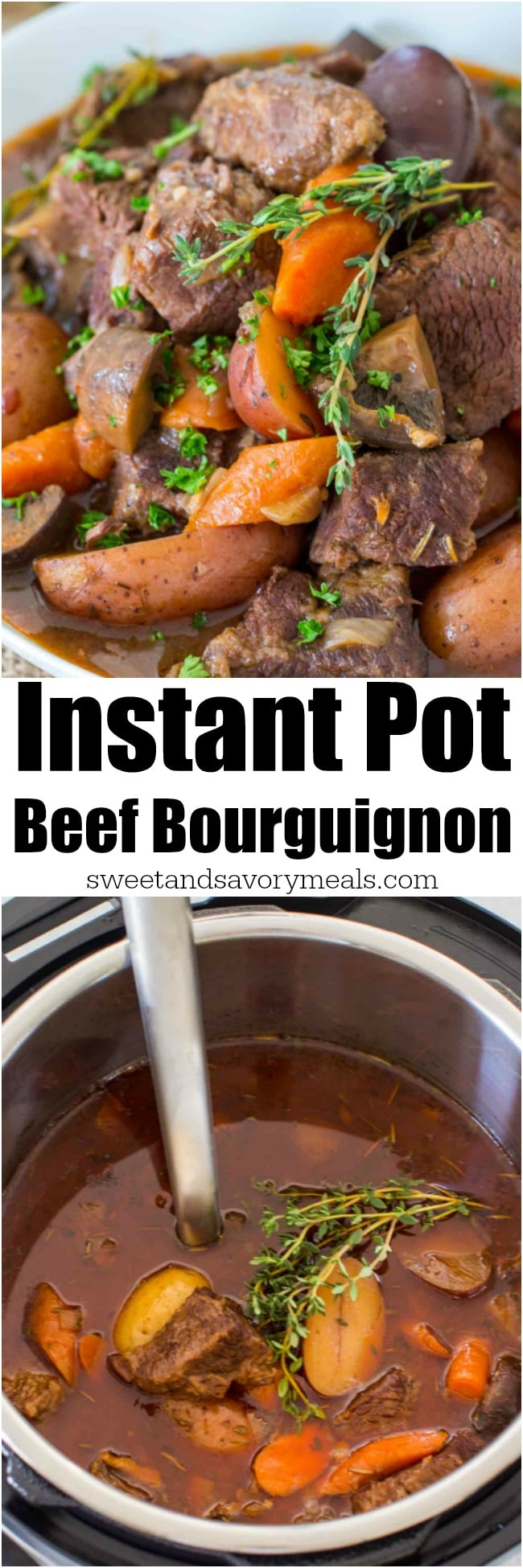 Photo collage of Instant Pot Beef Bourguignon for Pinterest.