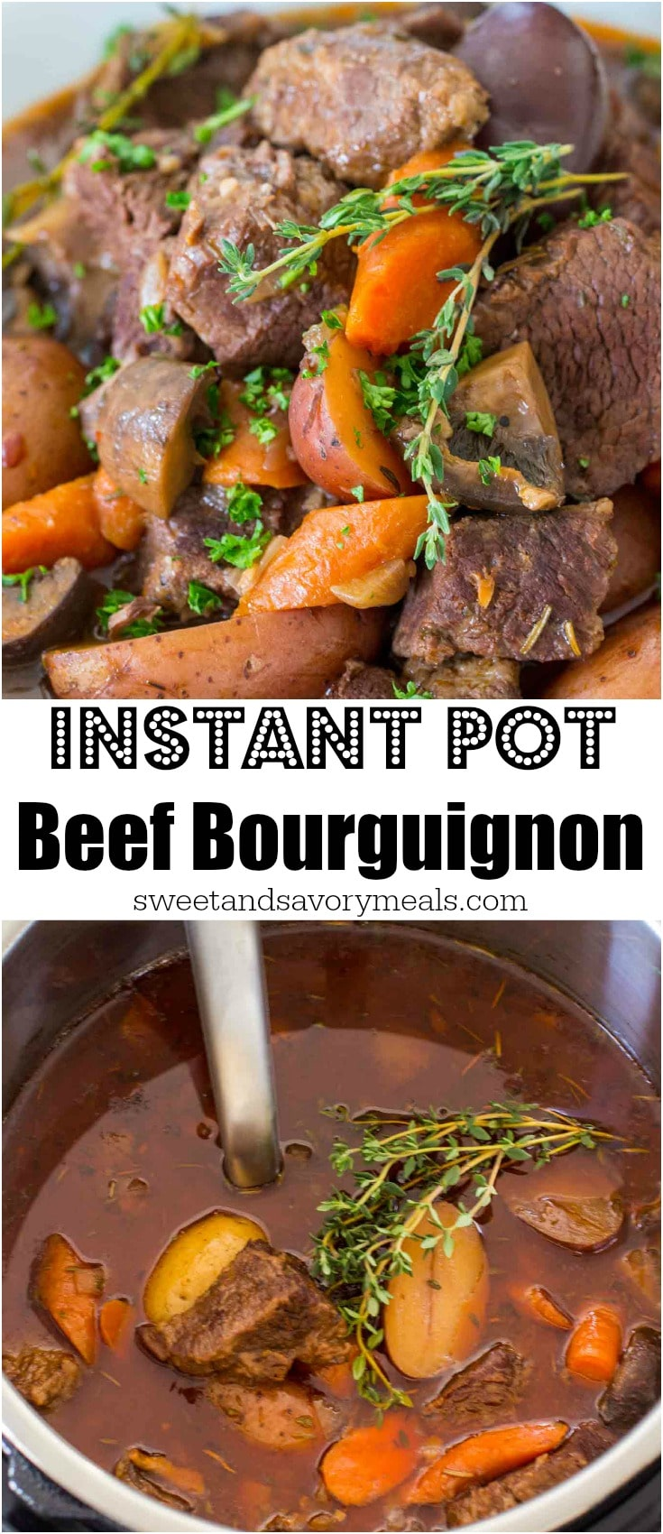 Instant Pot Beef Bourguignon is one delicious meal, made in a fraction of the time. Tender, melt in your mouth pieces of beef, cooked with veggies in a wine broth.