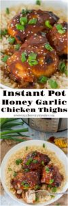 Instant Pot Honey Garlic Chicken thighs made with just a few ingredients, are sticky delicious, crispy on the outside and incredibly tender on the inside.