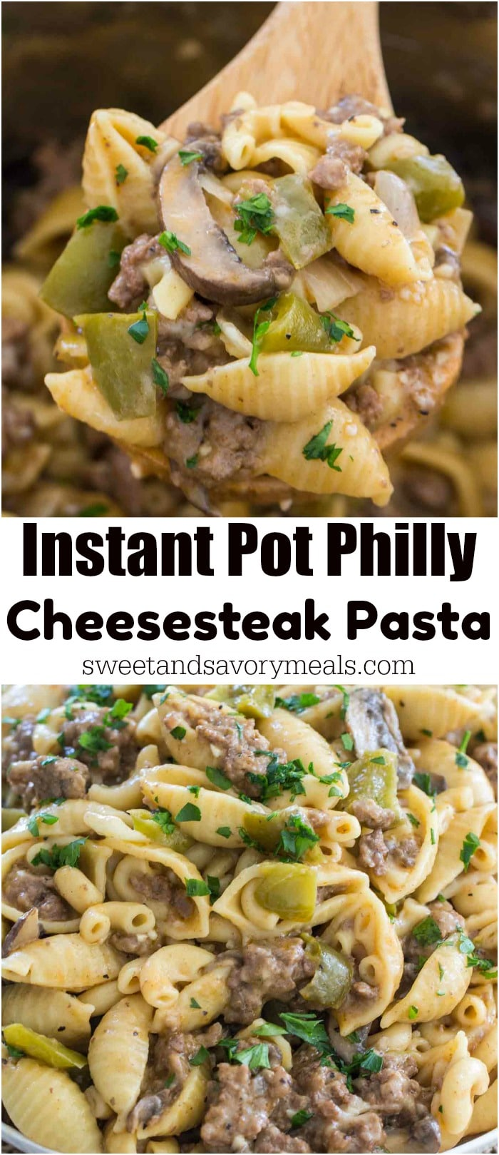 image of instant pot cheesesteak pasta for pinterest