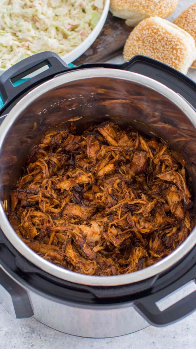 Photo of pulled pork made in the instant pot.